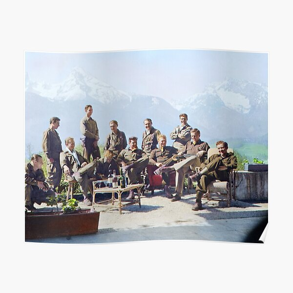 Dick Winters and his Easy Company (HBO's Band of Brothers) lounging at Eagle's Nest, Hitler's former residence in the Bavarian Alps, 1945.  Poster