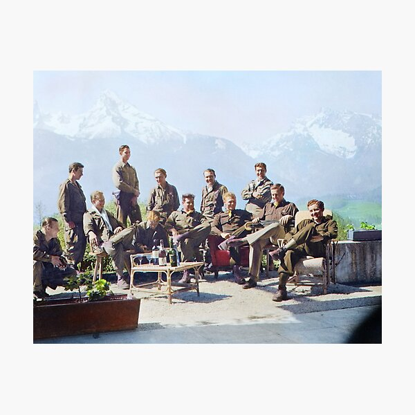 Dick Winters and his Easy Company (HBO's Band of Brothers) lounging at Eagle's Nest, Hitler's former residence in the Bavarian Alps, 1945.  Photographic Print
