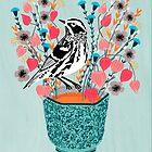 Tee und Blumen - Schwarz-Weiß-Trällerer von Andrea Lauren von Andrea Lauren
