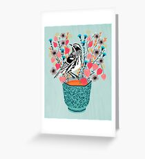 Tea and Flowers - Black and White Warbler by Andrea Lauren Greeting Card