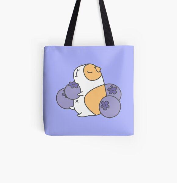 Guinea pig and blueberry  All Over Print Tote Bag