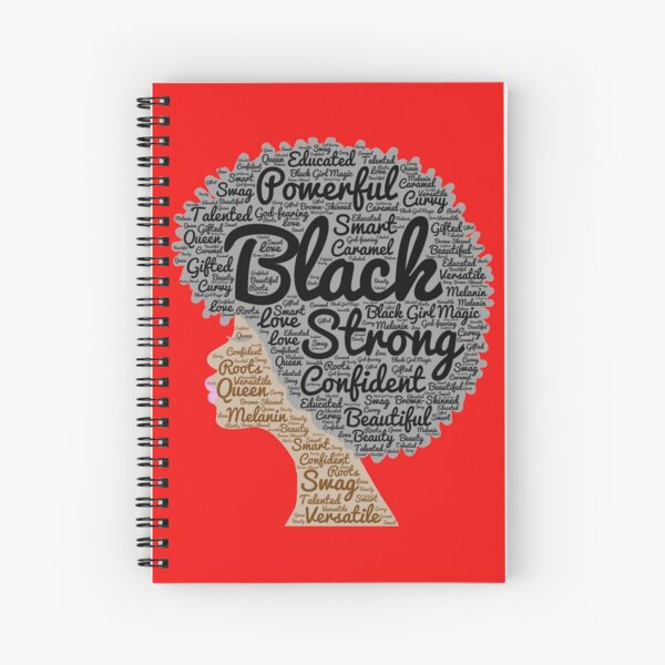 Black Woman Natural Hair Words In Afro Spiral Notebook