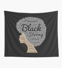 Black Woman Natural Hair Words In Afro Wall Tapestry