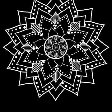 Mehndi / Henna style lotus flower blossom mandala(white) by LeahMcNeir