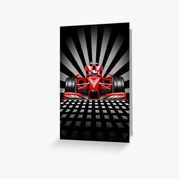 Formula 1 Red Race Car Greeting Card