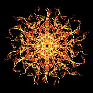 Mystic Spirit Awakening -  Fiery Transcendence Intuitive Energy Mandala. by LeahMcNeir