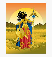 powerful armored woman warrior with spear Photographic Print