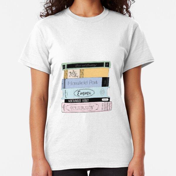 Jane Austen Book Stack - Colour  Classic T-Shirt