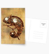 Steampunk Chamäleon Vintage-Stil Postkarten