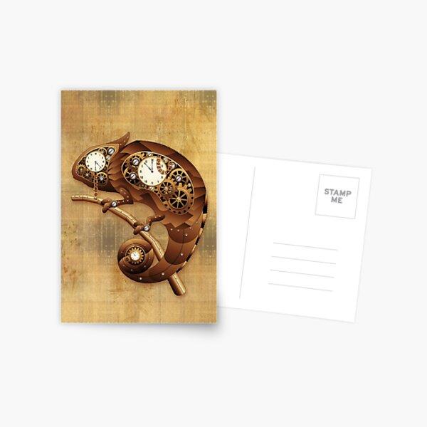 Steampunk Chameleon Vintage Style Postcard