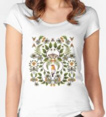 Spring Reflection - Floral/Botanical Pattern w/ Birds, Moths, Dragonflies & Flowers Women's Fitted Scoop T-Shirt