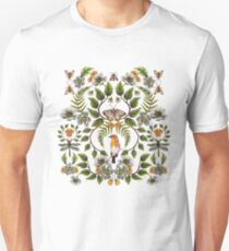 Spring Reflection - Floral/Botanical Pattern w/ Birds, Moths, Dragonflies & Flowers Unisex T-Shirt