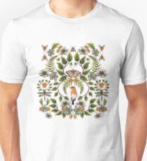 Frühlings-Reflexion - Blumen- / botanisches Muster mit Vögeln, Motten, Libellen u. Blumen Slim Fit T-Shirt