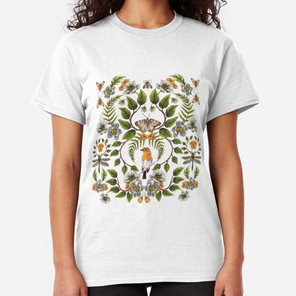 Spring Reflection - Floral/Botanical Pattern w/ Birds, Moths, Dragonflies & Flowers Classic T-Shirt