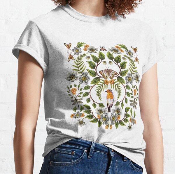 Spring Reflection - Floral/Botanical Pattern w/ Birds, Moths, Dragonflies & Flowers Classic T-Shirt