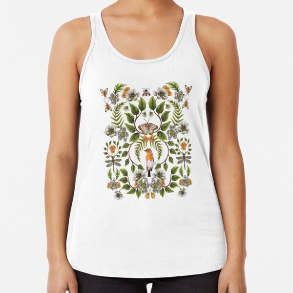 Spring Reflection - Floral/Botanical Pattern w/ Birds, Moths, Dragonflies & Flowers Racerback Tank Top