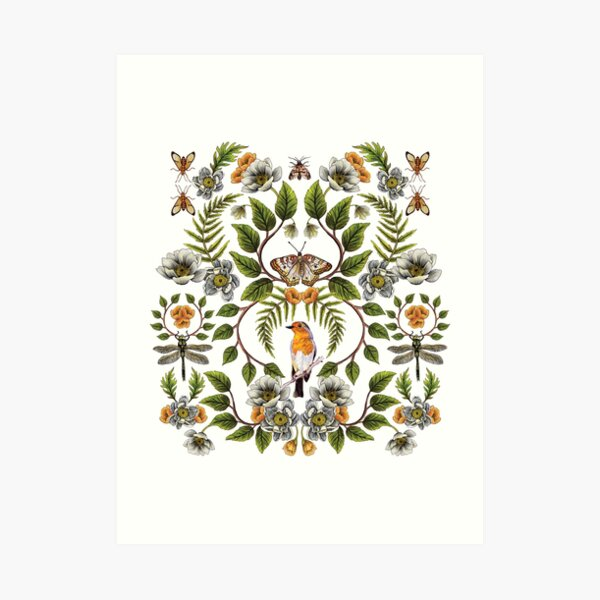Spring Reflection - Floral/Botanical Pattern w/ Birds, Moths, Dragonflies & Flowers Art Print