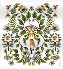 Spring Reflection - Floral/Botanical Pattern w/ Birds, Moths, Dragonflies & Flowers Poster