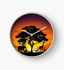 Wild Animals on African Savanna Sunset  Clock