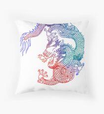 Asian Art Rainbow Dragon Throw Pillow
