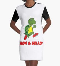 Slow And Steady Cartoon Running Turtle Graphic T-Shirt Dress