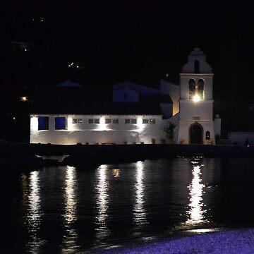 Vlacherna Church at Night. Island of Corfu, Greece by IgorPozdnyakov