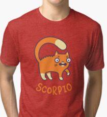 Funny Scorpio Cat Horoscope Tshirt - Astrology and Zodiac Gift Ideas! Tri-blend T-Shirt