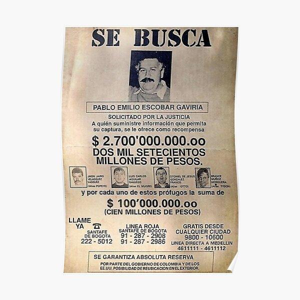 Pablo Escobar Recherché Original Poster