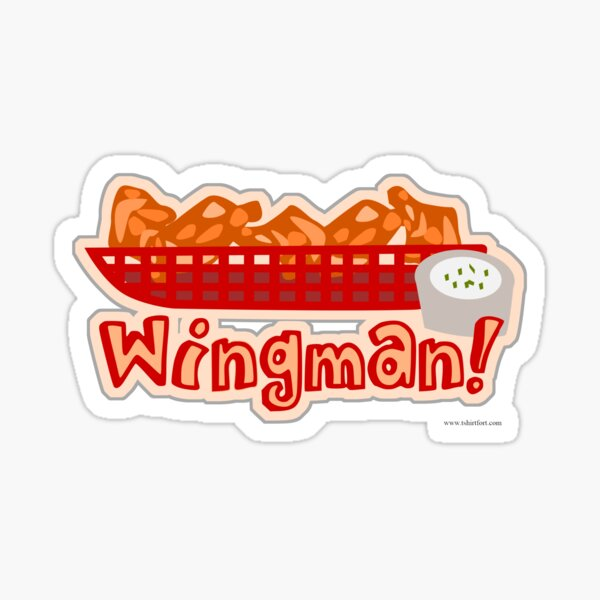 Wingman Hot Wings Cartoon Slogan Sticker