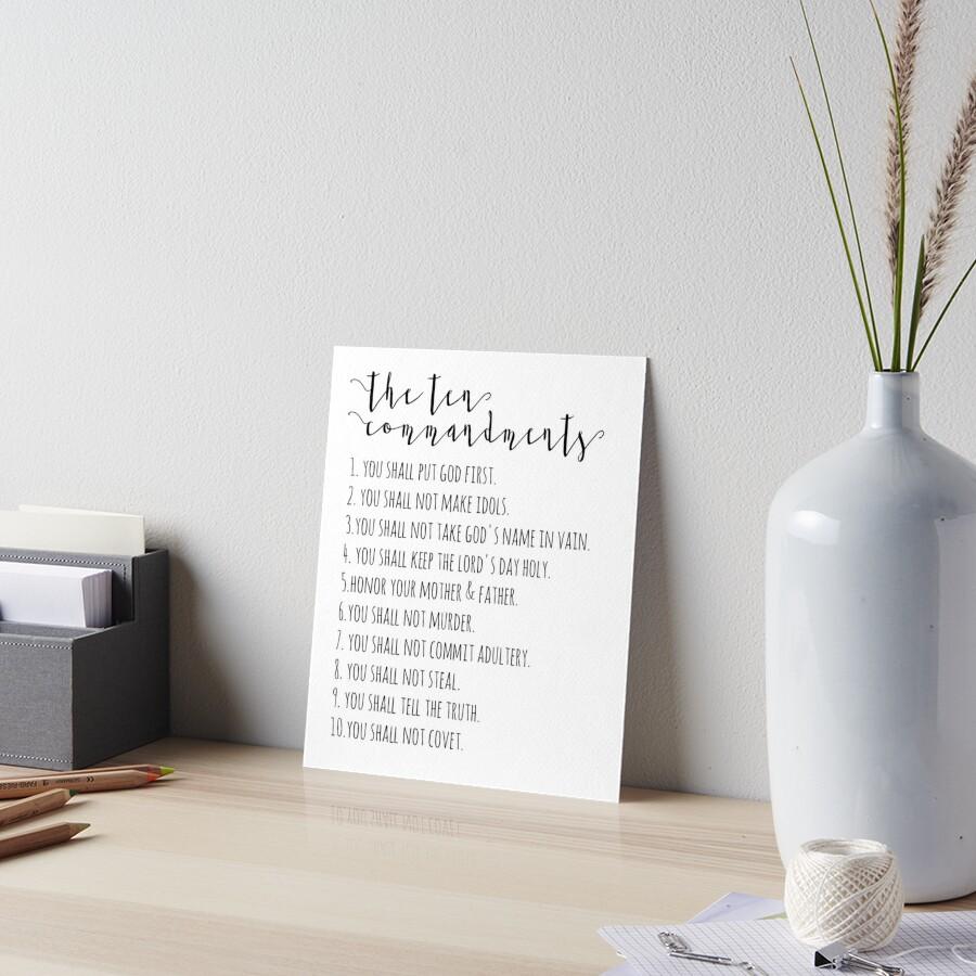 The Ten Commandments Exodus 20 Art Board Print