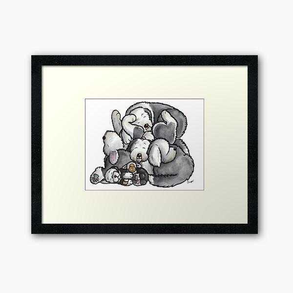 Old English Sheepdog - sleeping pile cartoon Framed Art Print