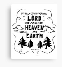 Bible Verse Christian Hand Lettered Design Psalm 121 Canvas Print