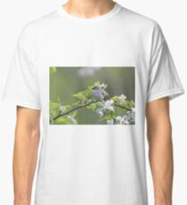 Chipping Sparrow perched on branch with blossoms Classic T-Shirt