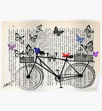Bicycle and butterflies Poster