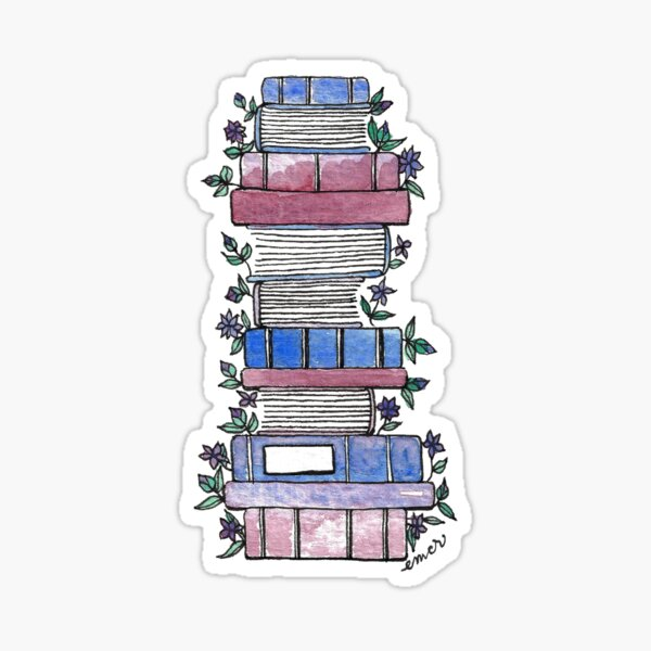 Flowery Books Sticker