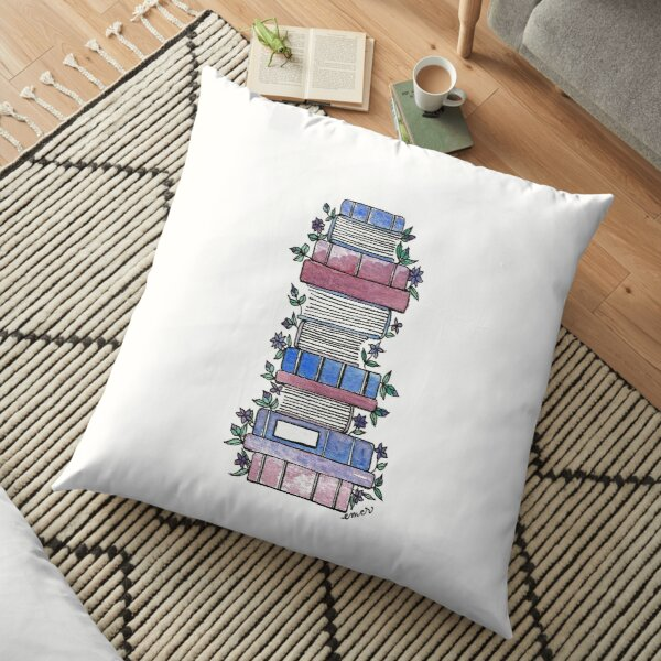 Flowery Books Floor Pillow