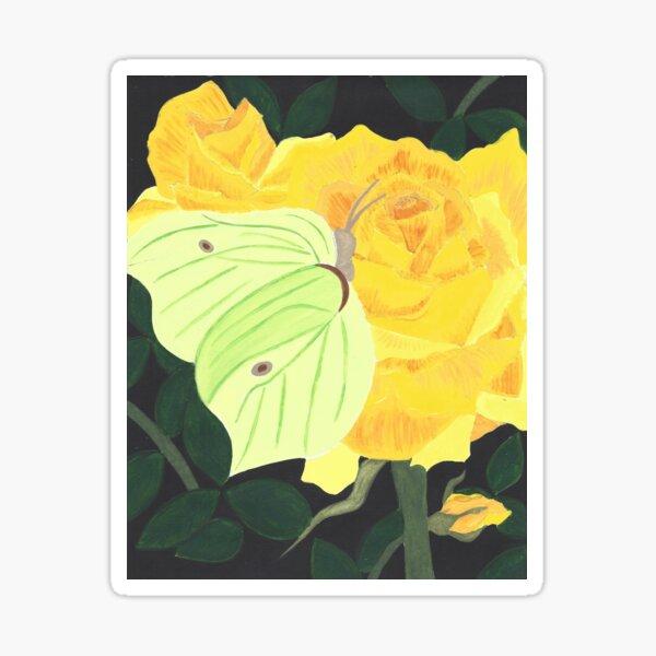 Brimstone Butterfly on Yellow Rose Sticker