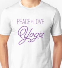 Peace, Love, Yoga- Purple T-Shirt