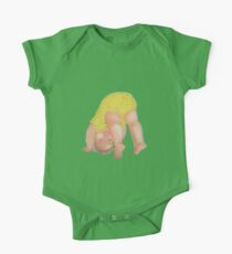 A playful baby wearing a yellow leopard print jumpsuit smiling at you upside down retro inspired One Piece - Short Sleeve