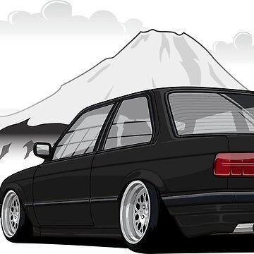 Stanced out E30 Black by StickerNation