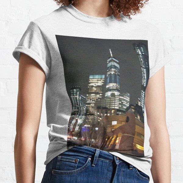 Metropolis, New York, Manhattan, Brooklyn, New York City, architecture, street, building, tree, car,   Classic T-Shirt