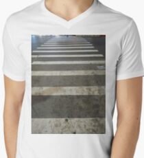 Asphalt, New York, Manhattan, Brooklyn, New York City, architecture, street, building, tree, car,   Men's V-Neck T-Shirt