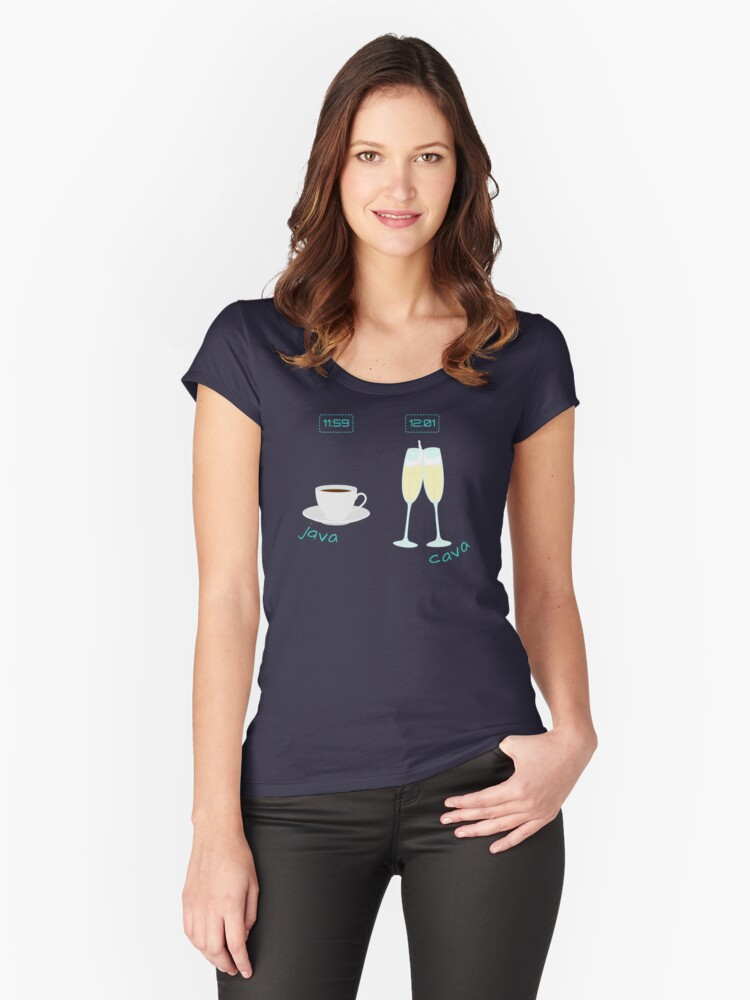Beverage Time! Java & Cava Women's Fitted Scoop T-Shirt Front