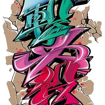 Japanese KANJI Graffiti ICHIGEKIHISSATSU by TurkeysDesign