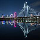 Dallas Bridge Reflection at Night by josephhaubert