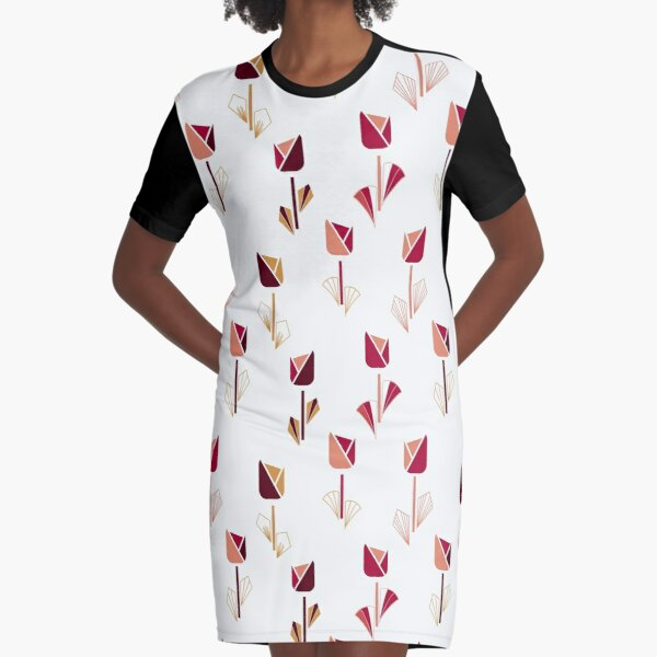 Art Deco Tulips in Pink Graphic T-Shirt Dress