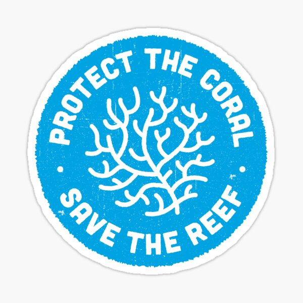 Protect the Coral, Save the Reef. Blue Icon. Sticker