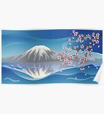 Branch of Sakura and Volcano Poster
