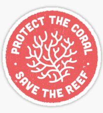 Schütze die Korallen, rette das Riff. Rote Ikone. Sticker