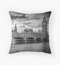 LONDON Houses of Parliament & Red Buses Kissen